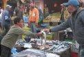 Fotografia: Výjav sixtínskej kaplnky na rybom trhu v Maroku, fotograf: Michal Barla, tagy: trh,ryby,chlapec,predavač,obchod,smrad