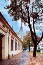 Fotografia: Mesto v jeseni., fotograf: Jakub Manina, tagy: jeseň, mesto, stromy, kostol, ulica, dážď